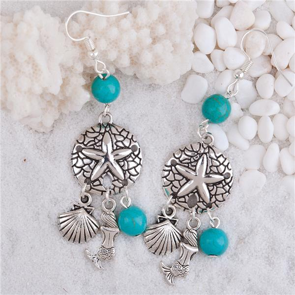 Earrings Antique Silver Blue Sand Dollar Shell Imitation Turquoise Import Jewelry From China