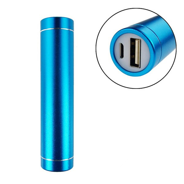 External Battery Charger LED indicator lights 2600mAh Round Metal tube power bank