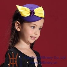 Fancy Yellow Big Bowknot Elegant Purple Wool Fascinators For Children X'mas