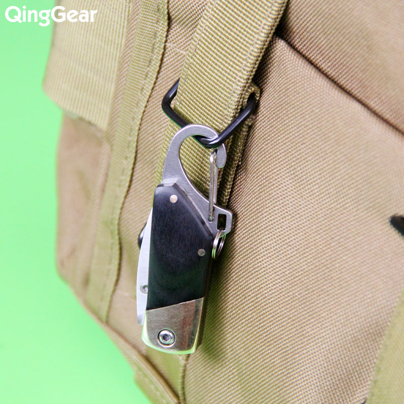 Pocket Folding Key Chain Knife Folding Knife Brass Copper Black Wood Handle With Keychain Ring Carabiner Nylon Sheath