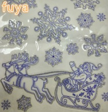 Custom decoration Christmas snowflake window sticker, PVC glitter powder printing static sticker