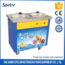 Completely-Sealed Double Flat Pans Fried Ice Cream Machine