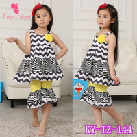 Bulk wholesale kids clothing knit cotton sleeveless summer clothing girls outfit set