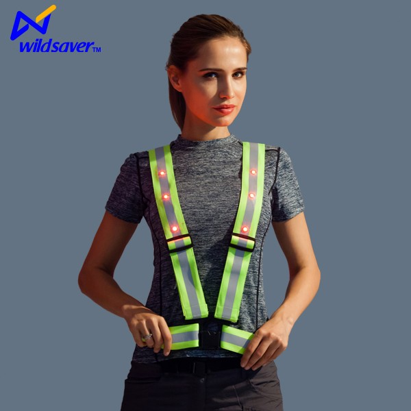 Customized security wholesale safety vest with led light and reflective strap