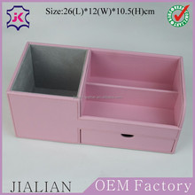Fashionable pink faux leather office desk organizer