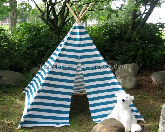 Blue and White Striped children's Teepee tent, Indian tent