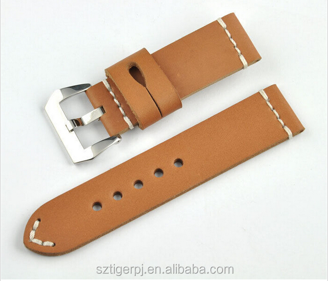 Vintage Brown Cowhide Leather Watch Band Strap Hand Stitched 20 22 24 26mm