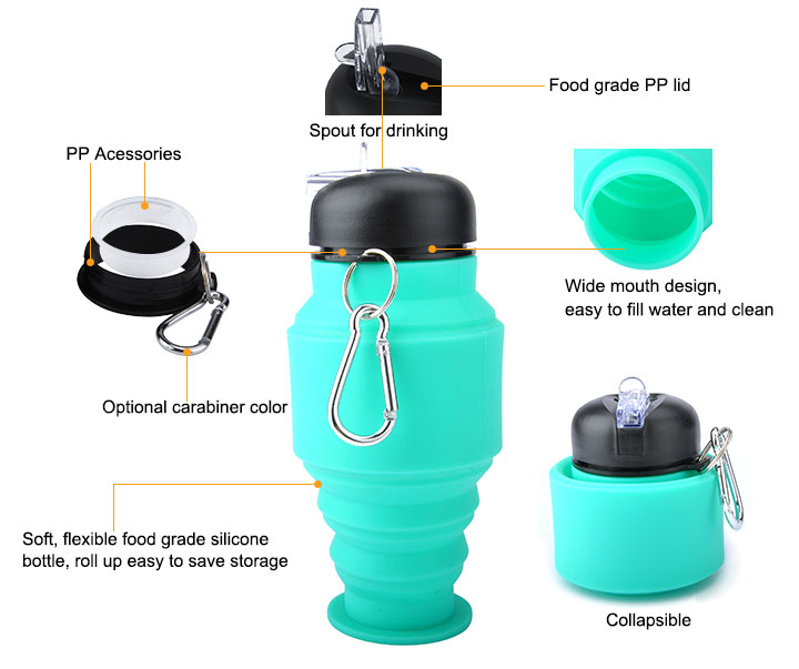 Sporting Goods Silicone Foldable Collapsible Water Bottle 500Ml