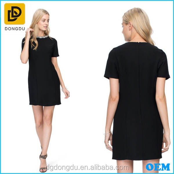 OEM Fashion Wholesale Ladies Dress Short Sleeve New Designer One Piece Party Black Dress