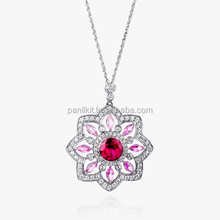 Queen Ruby & Pink Sapphire Antique Design Silver Necklace