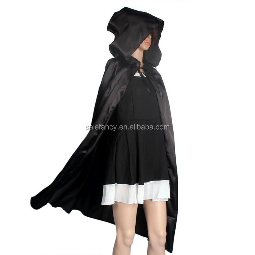 Black color for lady long design Halloween women costumes Hooded Wicca Robe Medieval Cape Wedding Cloak Cosplay Coat QAWC-8927