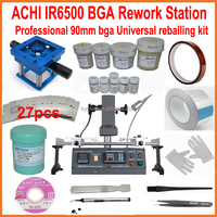 New BGA rework station infrared ACHI IR6500 motherboard repair machine + 27pcs 90mm universal bga stencils kit reballing base
