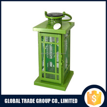 Metal Glass Solar Hurricane Lantern with Palm Design 452304