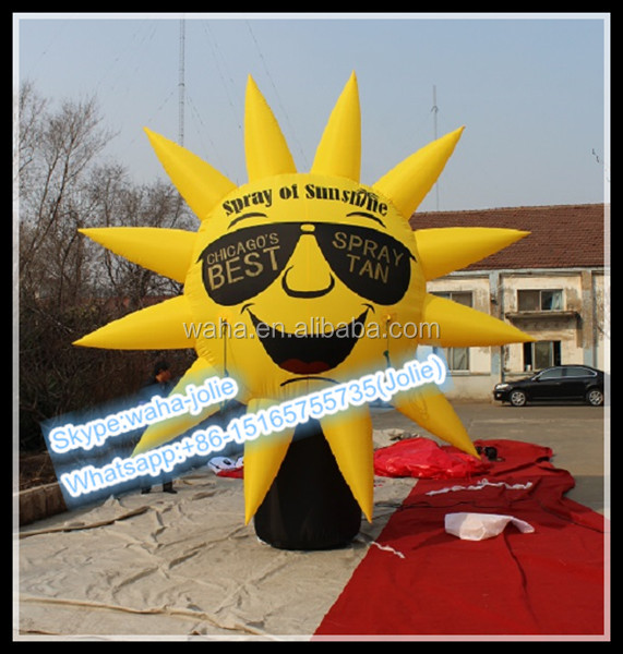 4m/13ft Yellow Inflatable Sun/Sunglasses Advertising/Cartoon Replica/Model Balloon W10353
