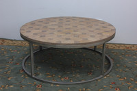Modern stainless steel round coffee table side table antique furniture solid wooden frame oval coffee table