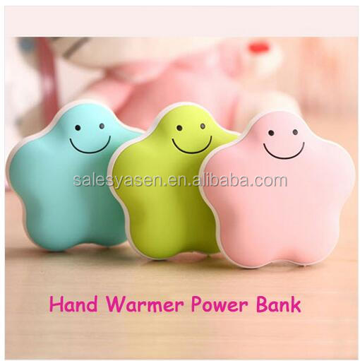 Fashion Lucky Star Hand Warmer Charger USB Rechargeable Hand Warmer Power Bank 3600mah For all Mobile Phones
