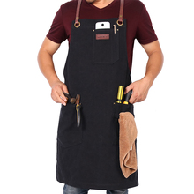 Custom Vintage black leather canvas apron with cross back straps