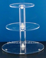 ACCS_015 3 Tier Round Perspex/Acrylic Cupcake Cake Stand / Wedding Cake Stand with One Pillar
