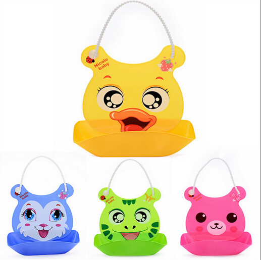 Eco-friendly silicone cartoon animal shape customed baby bib for promotion