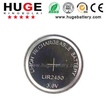 3.6v lir 2450 rechargeable button cell