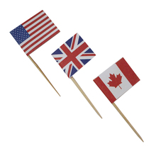 Party Decoration Picks Customerized Wooden Flag picks Disposable Cocktail Picks
