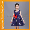 Blue fashion girl summer dress red bow design girl dresses fancy 3-5 year old girl dress SA-223