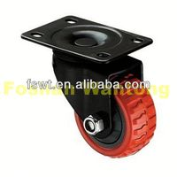 Red Polyurethane Industrial Rotating hard rubber caster wheel With Black Frame