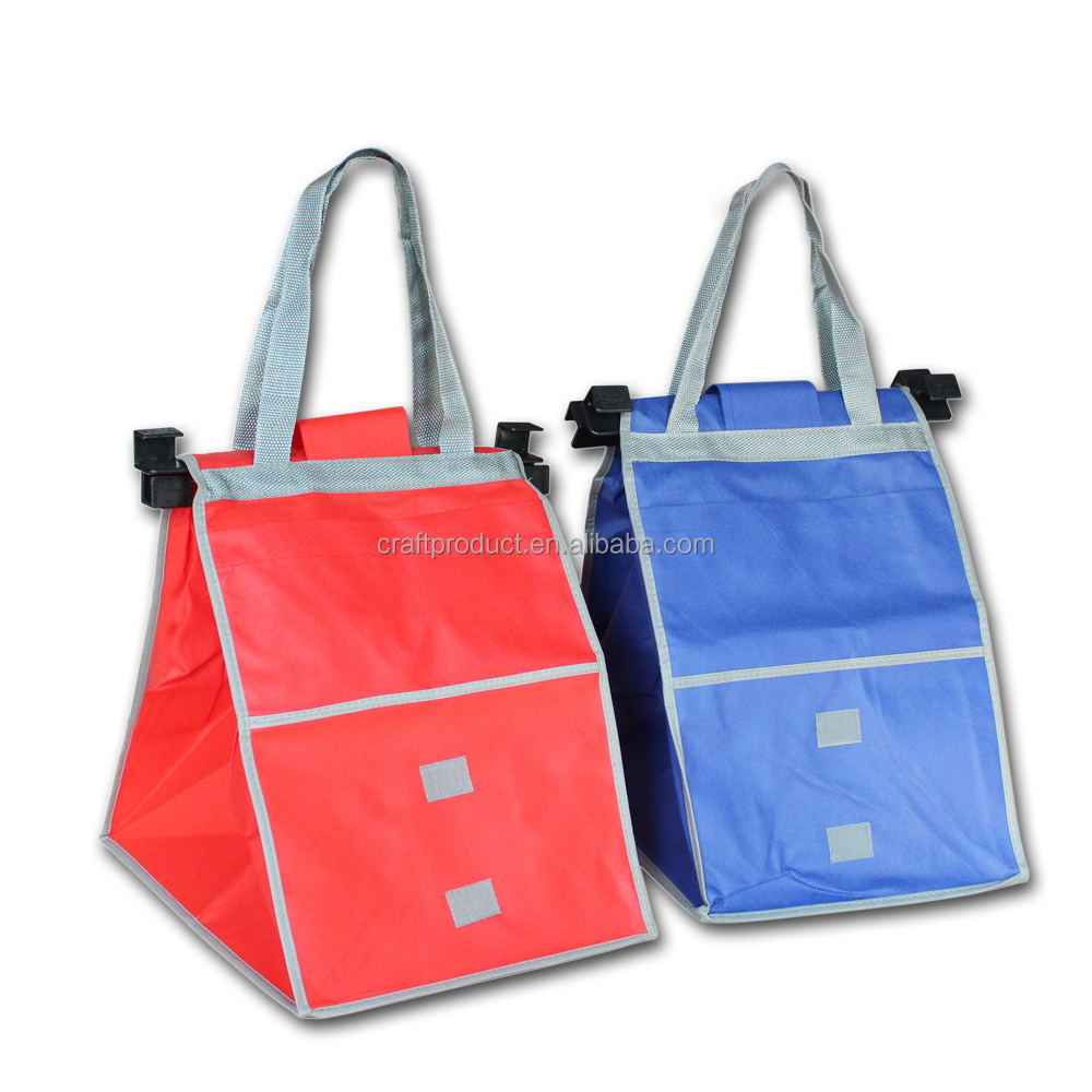 Eco Friendly Reusable Grocery Trolley Bags For Vegetable Cart Supermarket Advertising Non Woven Shopping Bag