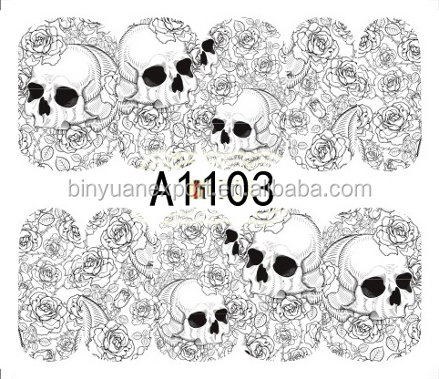 BIN A series Skull Nail art wholesale nail sticker for Halloween