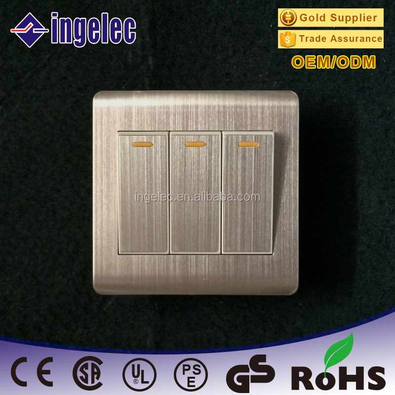 stringy stainless steel panel Wallpad Metal Face Modular Single Wall Switch, 13A Switched Fuse Connection Unit With Neon
