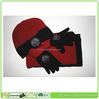 polyester fleece set baby polar fleece hat scarf and gloves,3pcs fleece set