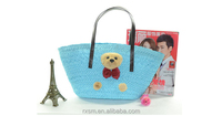 2015 Hot Sell Excellent Style Straw Beach Bags Tote Bag bear straw bag