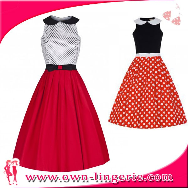 Doll Collar polka spots sleeveless lady/girl/woman caual pencil skirt frock suits for women