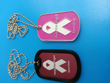 metal help the fight and save lives breast cancer awareness dog tags with chains
