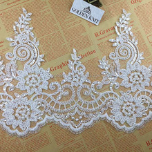25cm Width Bridal Trimming Lace with Sequins Beads