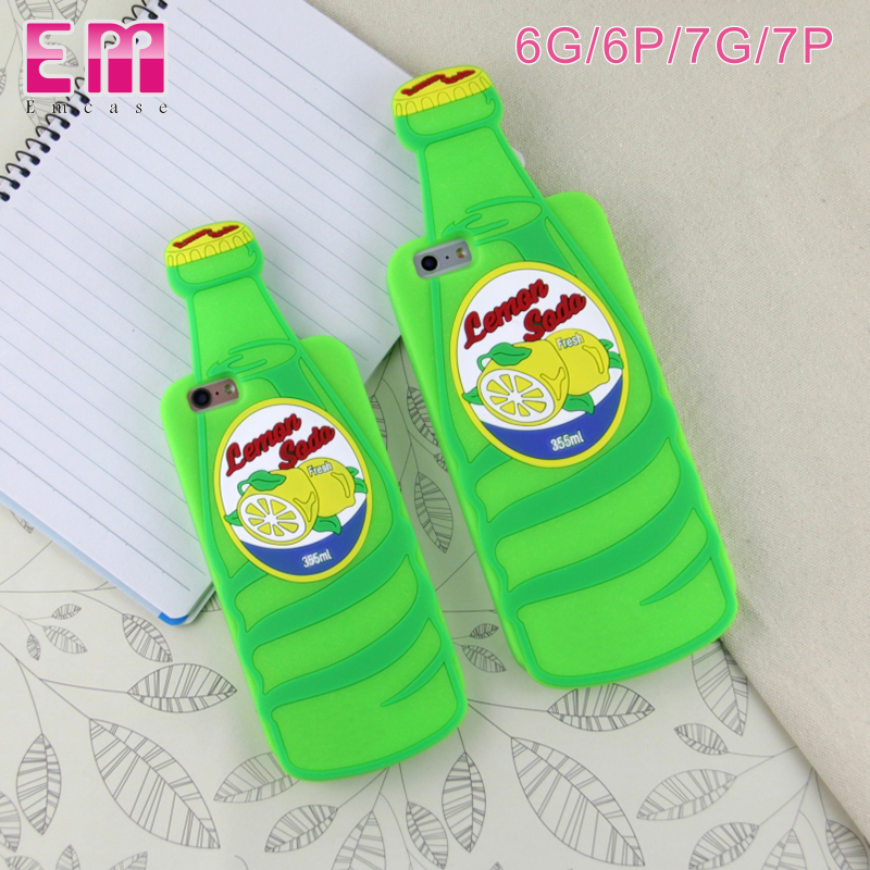 Mobile Phone Case 3D Beer Bottle silicon Back Case Cover For Iphone 7 7plus