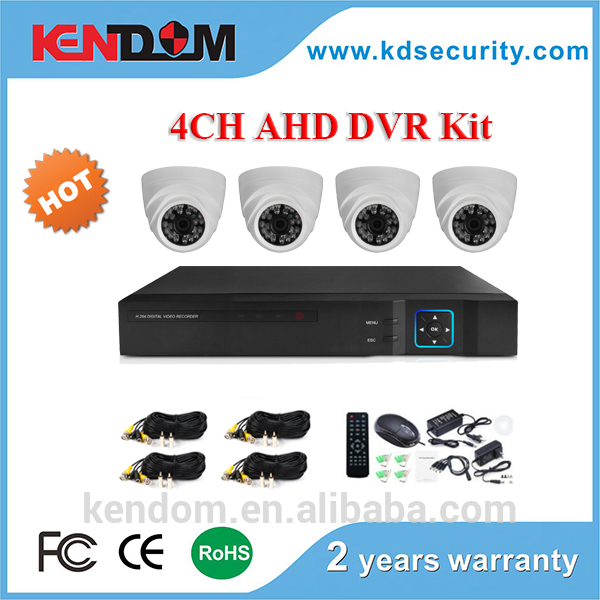 Kendom High Cost Effective 1.3MP or 2.0MP 4CH H.264 CCTV AHD DVR Kit Home Security Surveillance Camera