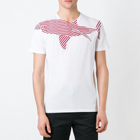 White cotton straight hem red striped shark print branded t-shirts for man