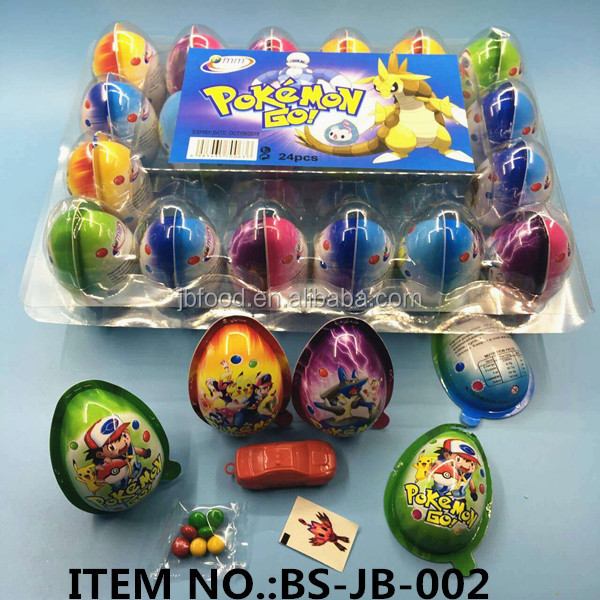 plastic egg surprise with toy insde andchocolate bean tattoo paper
