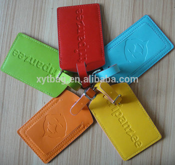 xyt factory 2015 hot sale leather luggage tags wedding favor