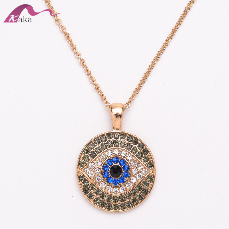Fashion Turkey evil eye crystal Rhinestone pendant necklace gold plated in necklaces wholesale