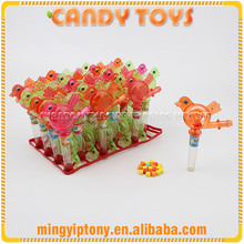 Plastic whistle bird candy toy, lark bird with whistle toy candy