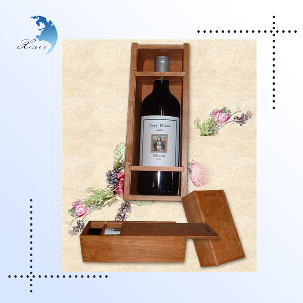 Wholesale luxury square shape single bottle packaging unfinished pine wooden wine boxes