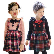 Little Girls Cotton Summer England Style <strong>Girl's</strong> Plaid <strong>Dress</strong>