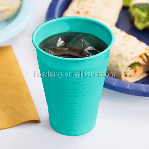 7/9/12/16 oz Colorful Disposable PS Teal Lagoon Plastic Cold Drink cup
