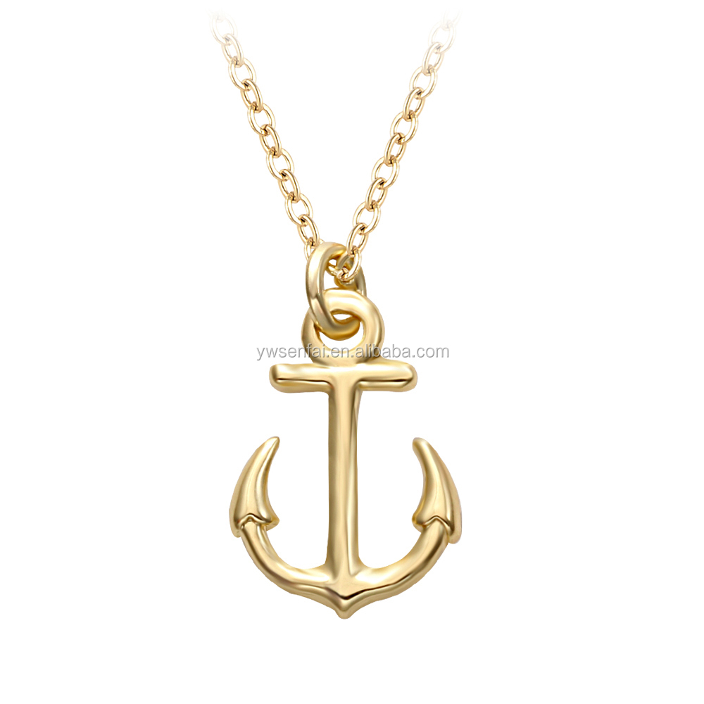 Yiwu top suppliers wholesale military men necklace gold plated personalized anchor pendant necklace