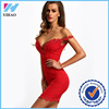 2016 New Arrival Designer Mature Women Dresses Online Party Clubwear Sexy Elegant Red Sweetheart Neck Lace Slim Bodycon Dress