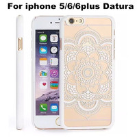Newest PC Matte Hard Case Flower Printed Clear Phone Back Cover for iPhone 6 6Plus 5 5S protecitve Shell