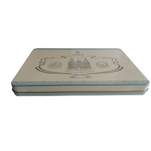Customized White Flat Rectangular Cookie Tin Box