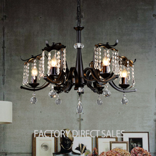 Loft light Industrial iron crystal vintage pendant lamp for Clothing room Cafe Bar